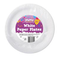White Paper Plates 30pk 22.5cm