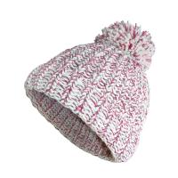 Girls Chunky Knit Bobble Hat - Cream & Pink