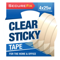 Clear Sticky Tape 25m 4pk