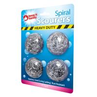 Heavy Duty Spiral Steel Scourers 4pk